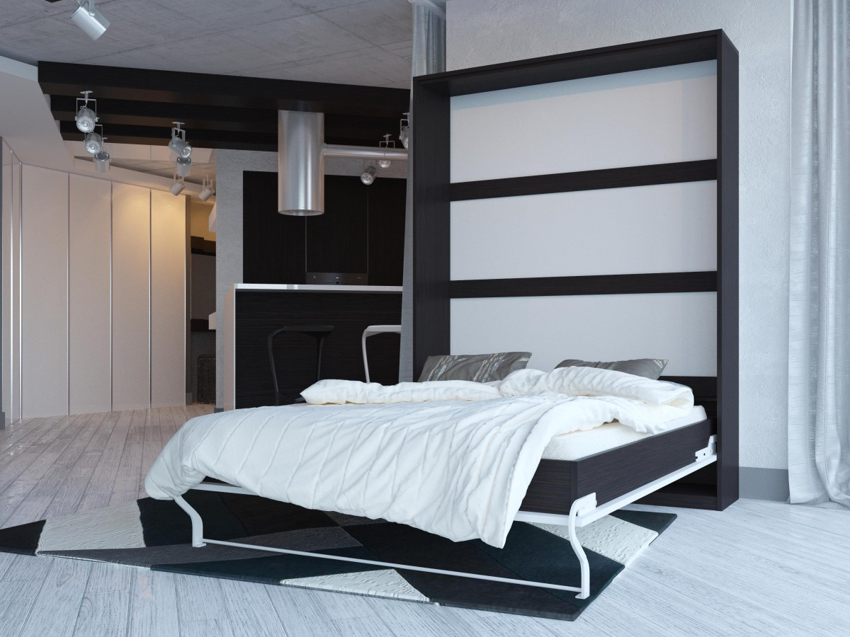 Murphy Beds Germany : Folding wall bed cm vertical venge with white front