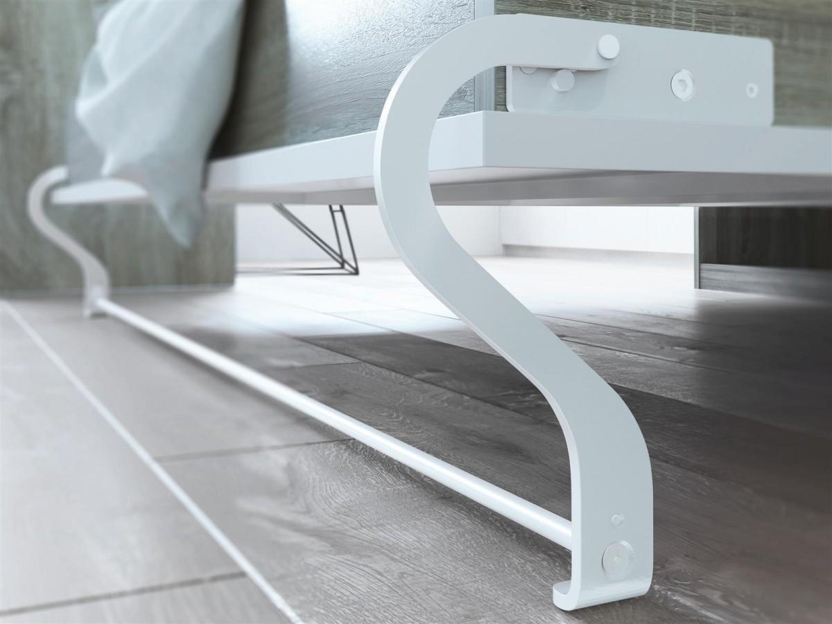 schrankbett 160cm vertikal eiche sonoma front weiss smartbett. Black Bedroom Furniture Sets. Home Design Ideas