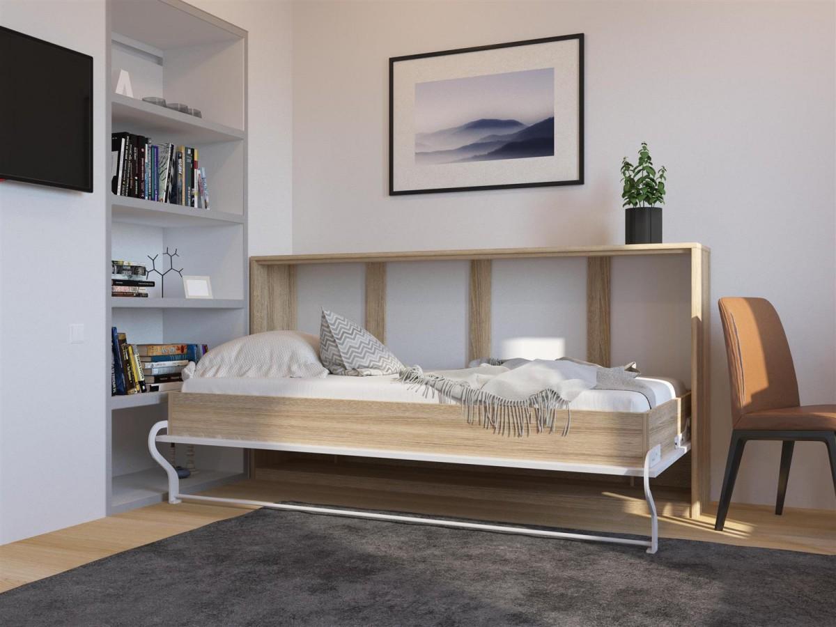 schrankbett 90cm horizontal eiche sonoma weisse front. Black Bedroom Furniture Sets. Home Design Ideas