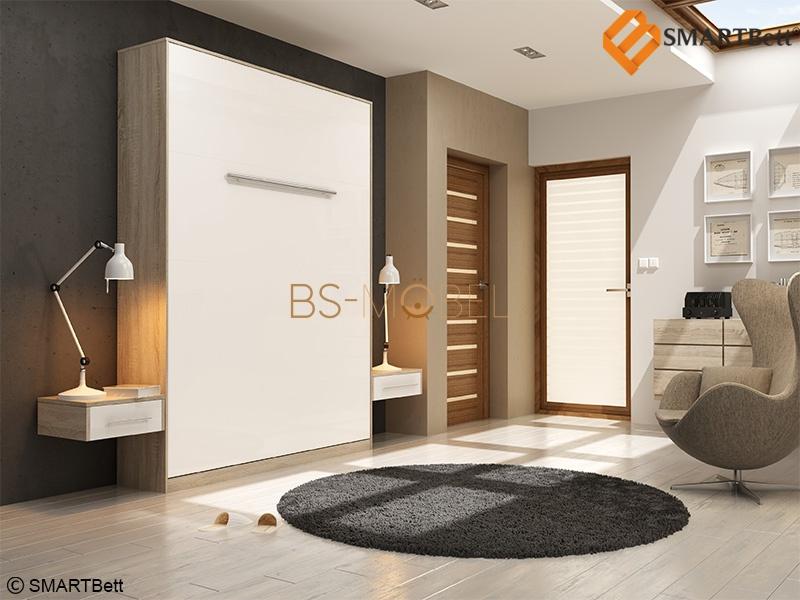 schrankbett 160x200 eiche sonoma front wei smartbett mit ton. Black Bedroom Furniture Sets. Home Design Ideas