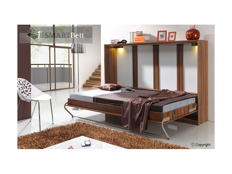 schrankbett smartbett klappbett querbett 140cm horizontal ausklappba. Black Bedroom Furniture Sets. Home Design Ideas