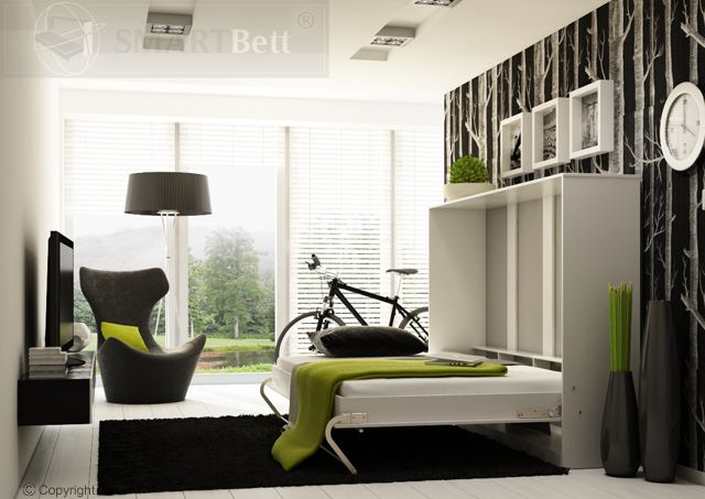 schrankbett smartbett klappbett querbett 140cm horizontal ausklappba. Black Bedroom Furniture Sets. Home Design Ideas