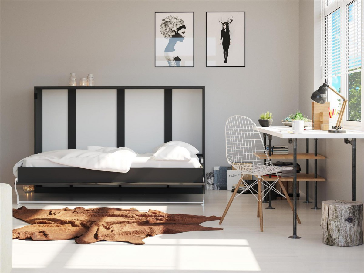 folding wall bed 140cm horizontal anthracite gray. Black Bedroom Furniture Sets. Home Design Ideas