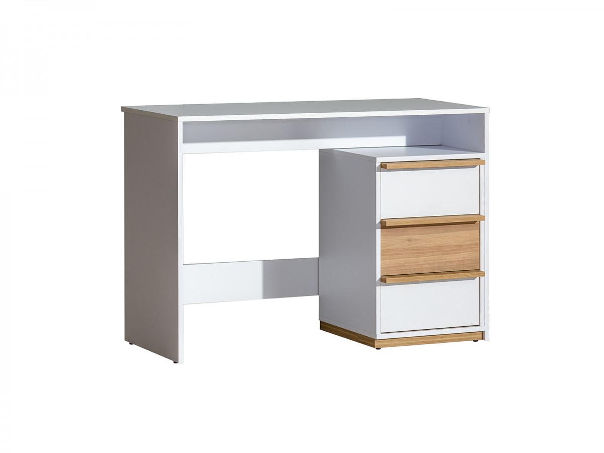 desk e14 evado with 3 drawers white with decoration. Black Bedroom Furniture Sets. Home Design Ideas