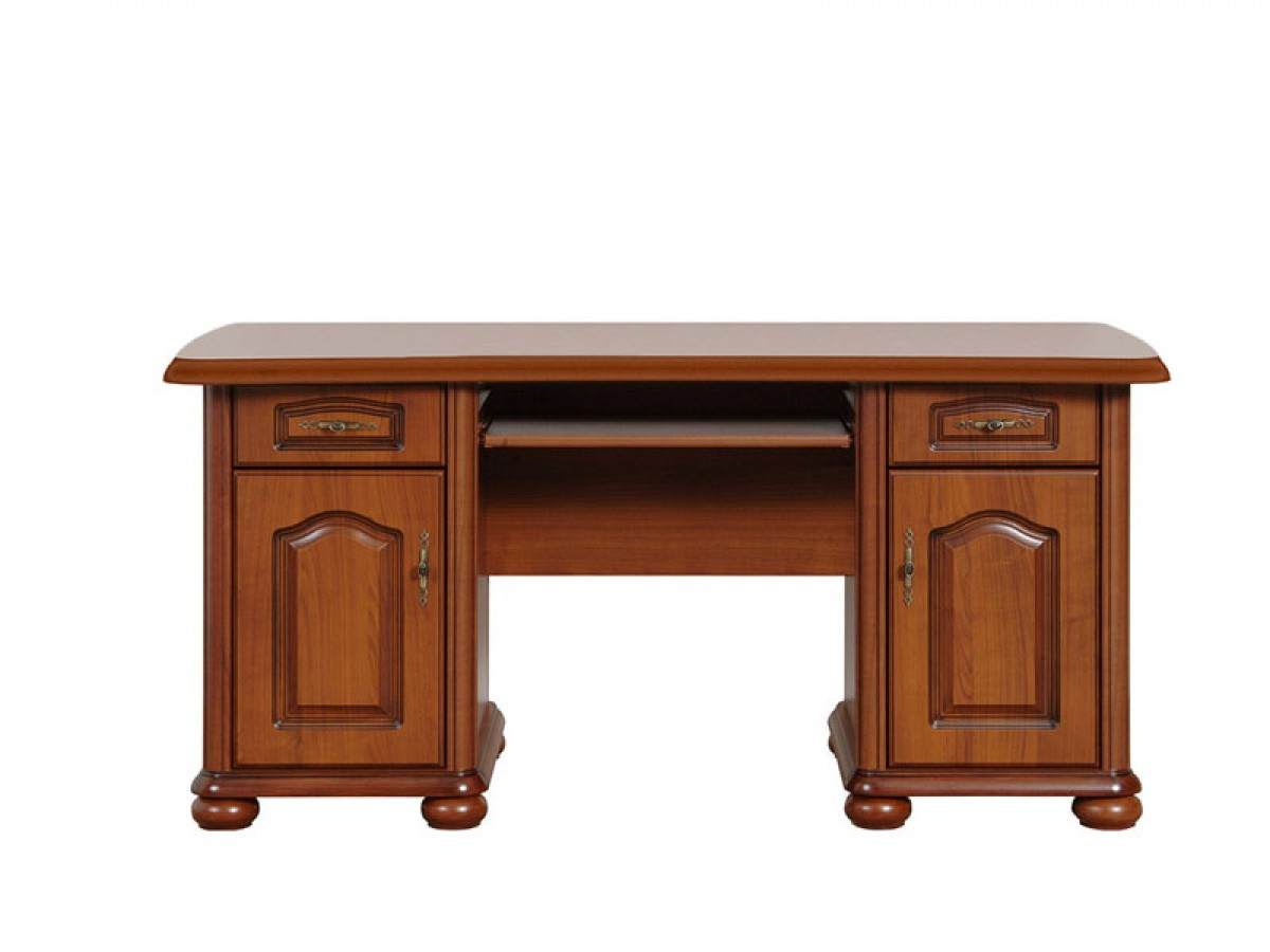 Computer table with 2 doors and 2 drawers cherrywood 474 55 for Schreibtisch kirschbaum