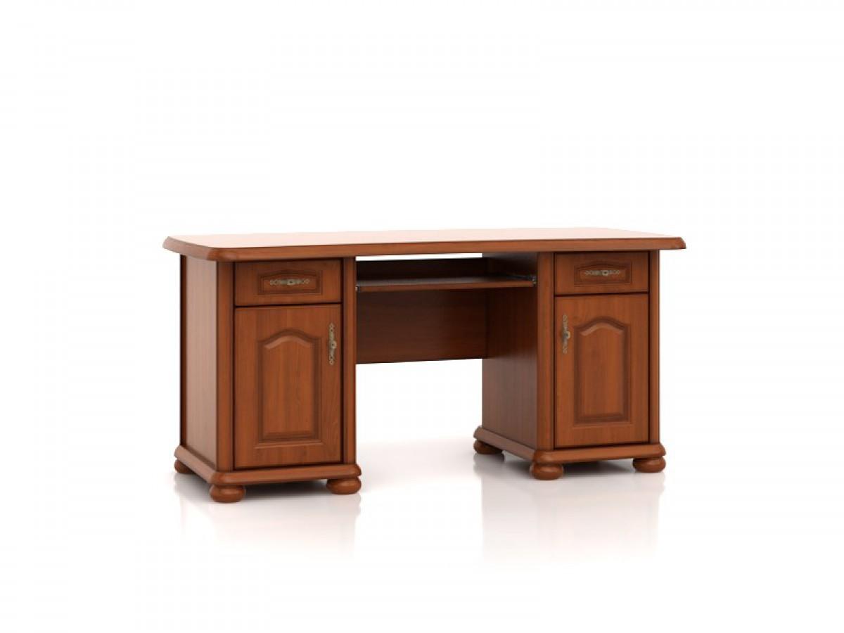 schreibtisch mit 2 t ren und 2 schubladen kirschbaum 474 55. Black Bedroom Furniture Sets. Home Design Ideas