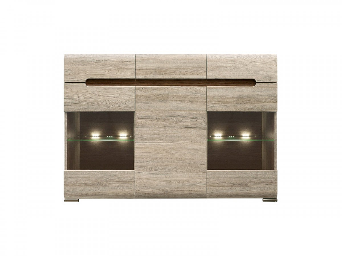 sideboard azteca with 2 glassdoors oak san remo 384 95. Black Bedroom Furniture Sets. Home Design Ideas