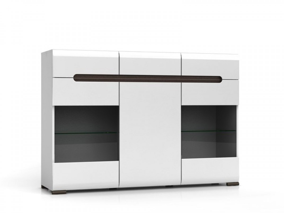 sideboard azteca with 2 glass doors white white with gloss front 404. Black Bedroom Furniture Sets. Home Design Ideas