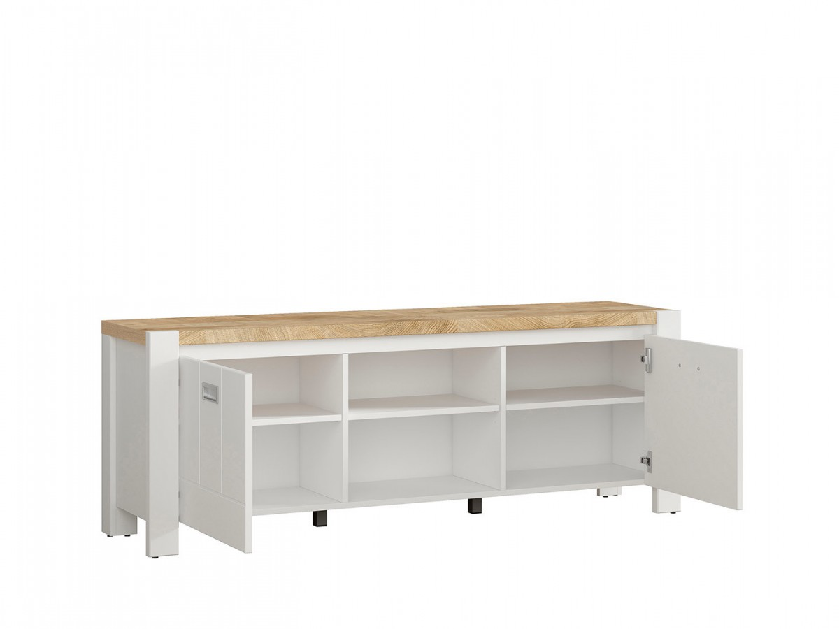 Lowboard hifi  DEVISO TV cabinet Hi-Fi cabinet Lowboard White / Oak Westminster, 230