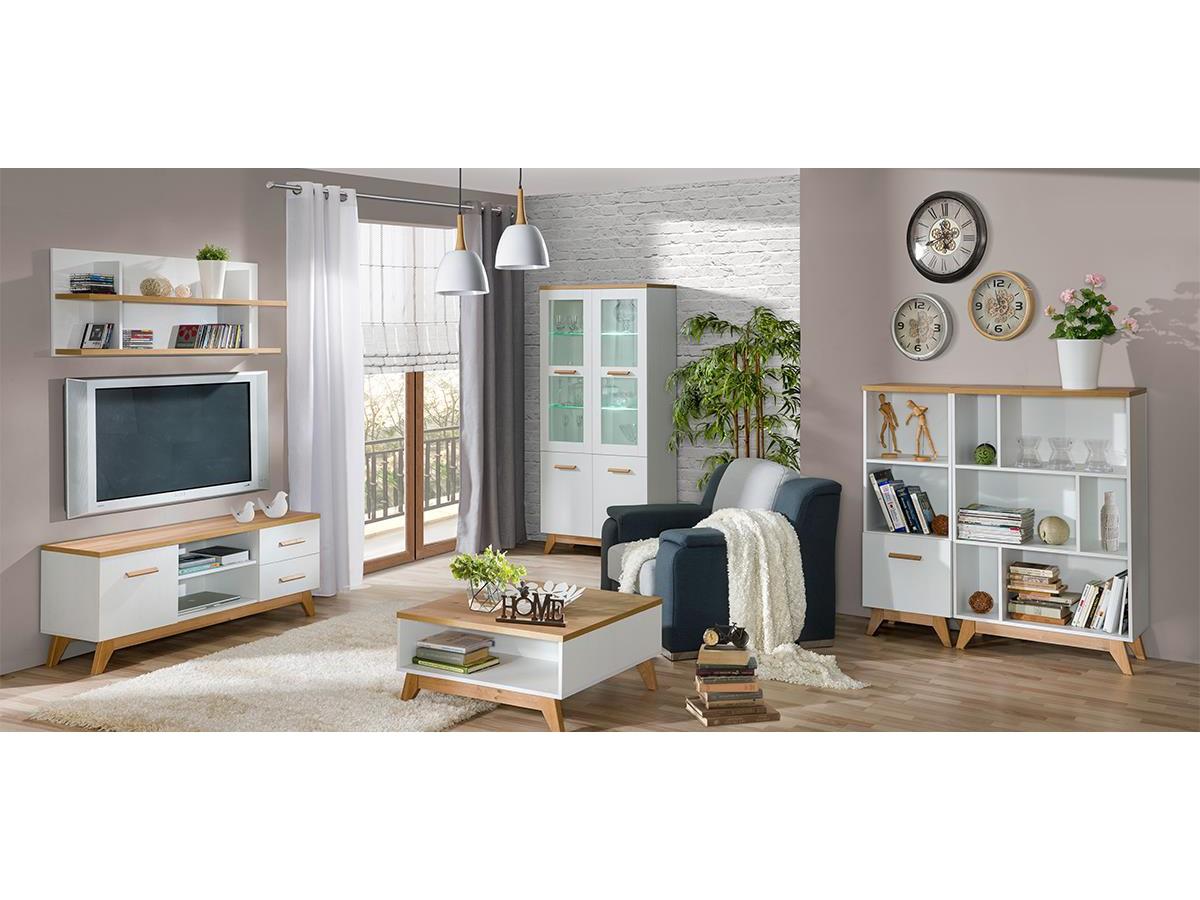 Wohnwand Wohnzimmer Set SVEN 01 (6-tlg.) Kiefer Weiß/ Eiche Nat