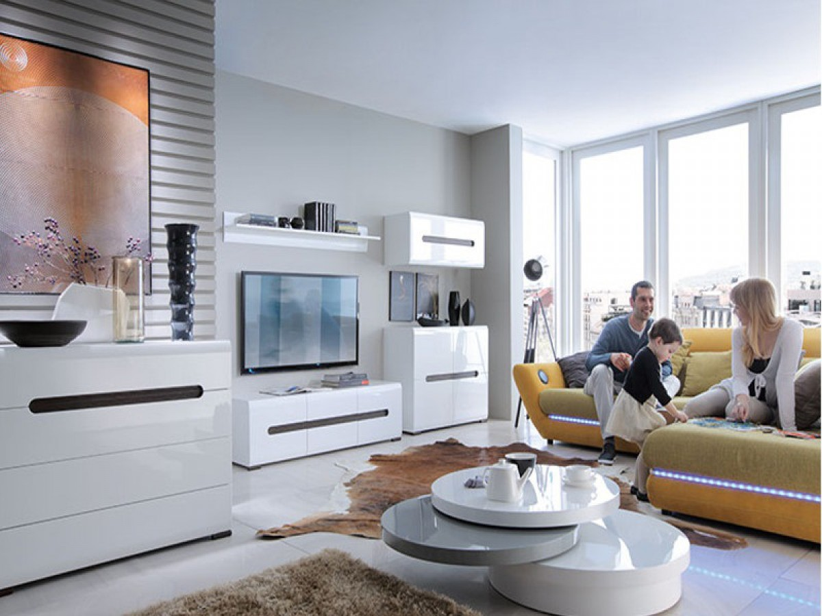 Modern living room 5 pieces white white with for Wohnwand luna