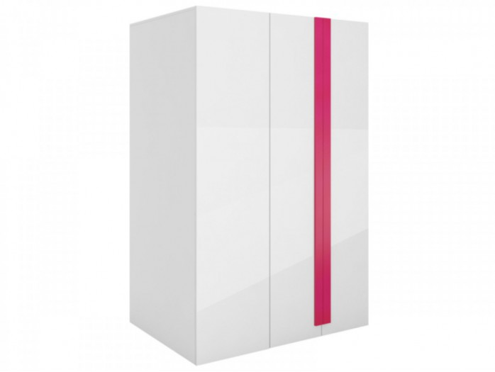 Walk-in closet Y-00 Right White/ white high gloss Front (MDF)/ Pink