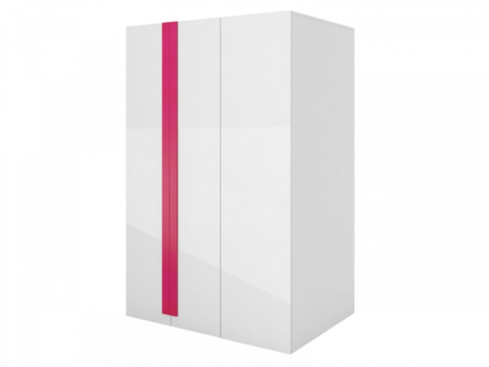 Walk-in closet Y-00 Left White/ white high gloss Front (MDF)/ Pink