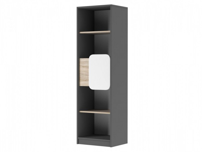 Bookcase Jogo  with 1 door in Grey / Oak / White