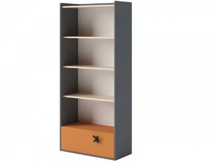 Bookcase 80 cm IKS Anthracite/ Oak Creme / Orange