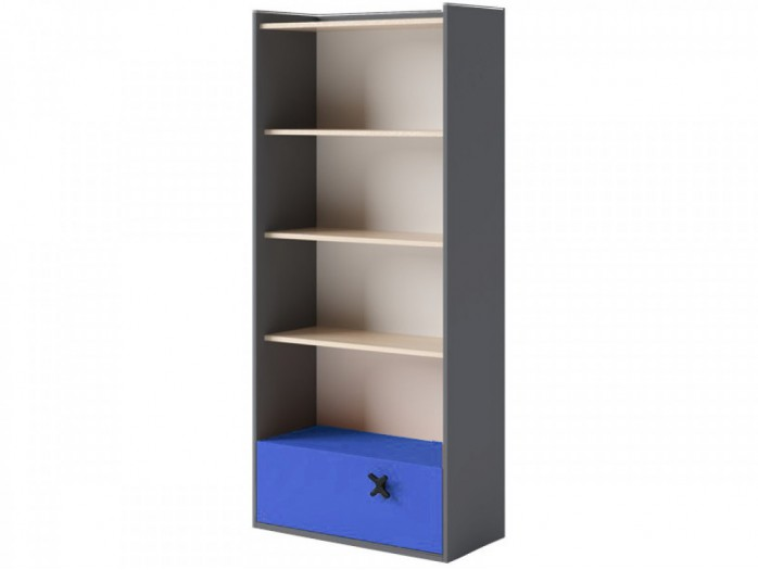 Bookcase 80 cm IKS Anthracite/ Oak Creme / Royal Blue