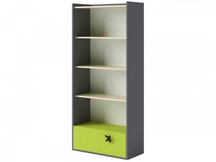 Bookcase 80 cm IKS Anthracite/ Oak Creme / Green