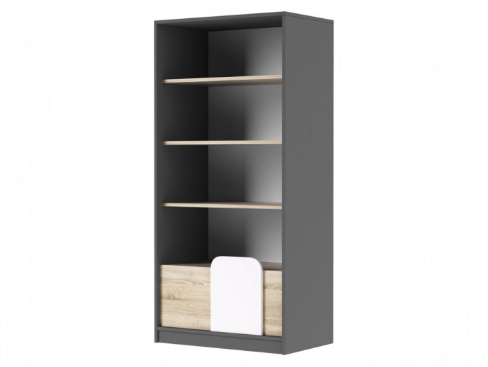 Bookcase with 1 drawer in Grey/ Oak / White
