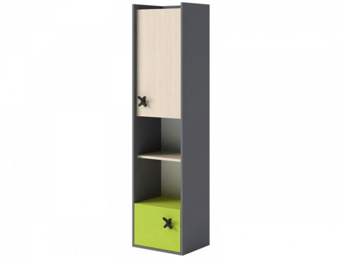 Bookcase IKS Anthracite/ Oak Creme / Green