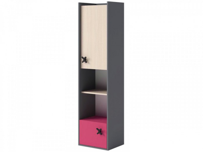 Bookcase IKS Anthracite/ Oak Creme / Pink