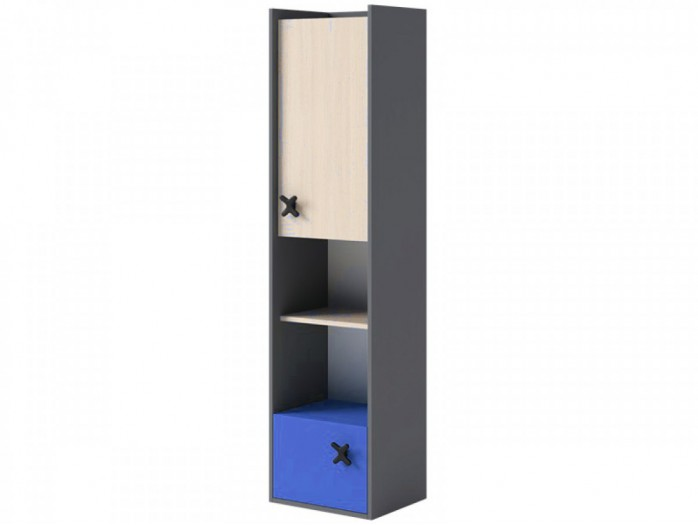 Bookcase IKS Anthracite/ Oak Creme / Royal Blau