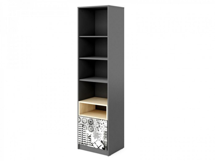 Bookcase POKO with 1 door Anthracite / light gray