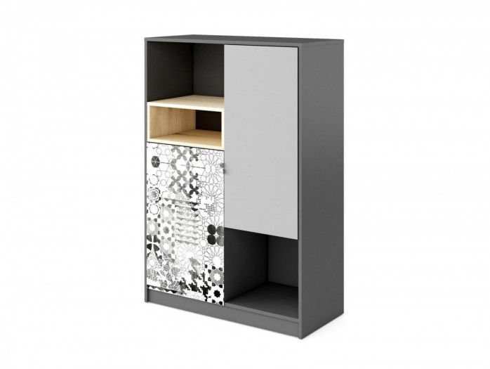 Bookcase POKO with 2 doors and open compartments. Anthracite / light gray