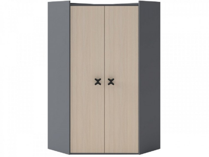 Corner wardrobe 95 cm Anthracite / Oak Cream.