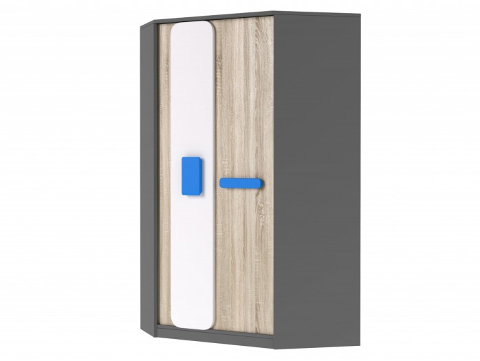 Corner wardrobe J01 Grey/ Oak 7 White/ Blue