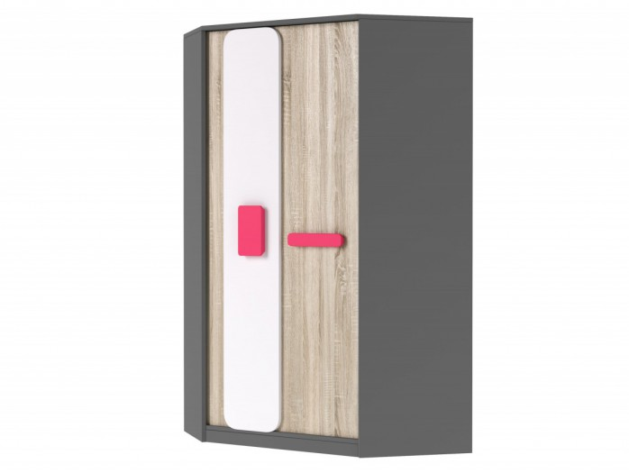 Corner wardrobe J01 Grey/ Oak 7 White/ Pink