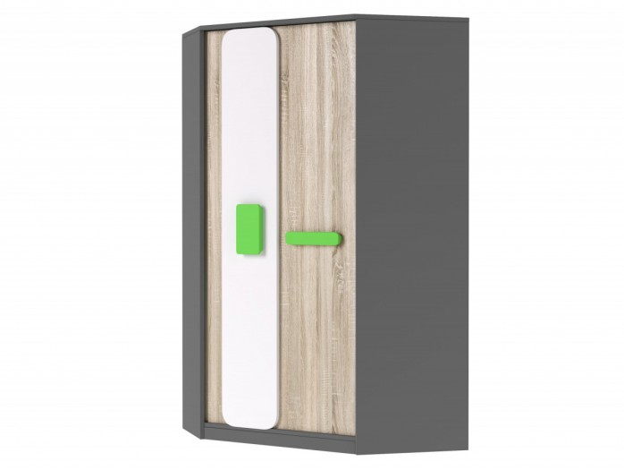 Corner wardrobe J01 Grey/ Oak 7 White/ Green