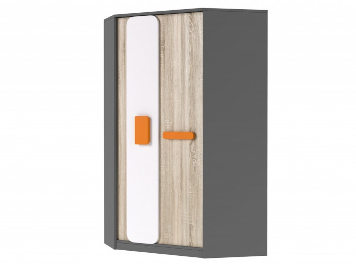 Corner wardrobe J01 Grey/ Oak 7 White/ Orange