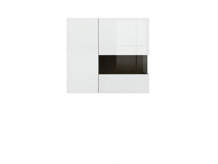 Wall cabinet White / White high gloss  with 1 glass door and 1 wooden door
