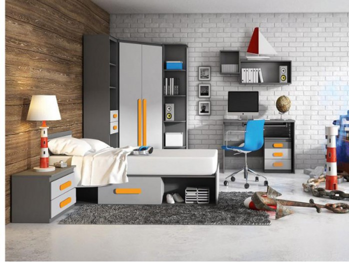 Youth Room PLAY 04 Anthracite / Grey / Orange
