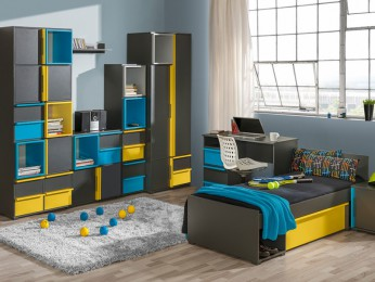 Youth Room BICO 06 (7 tlg) Anthracite / Turquoise / Yellow