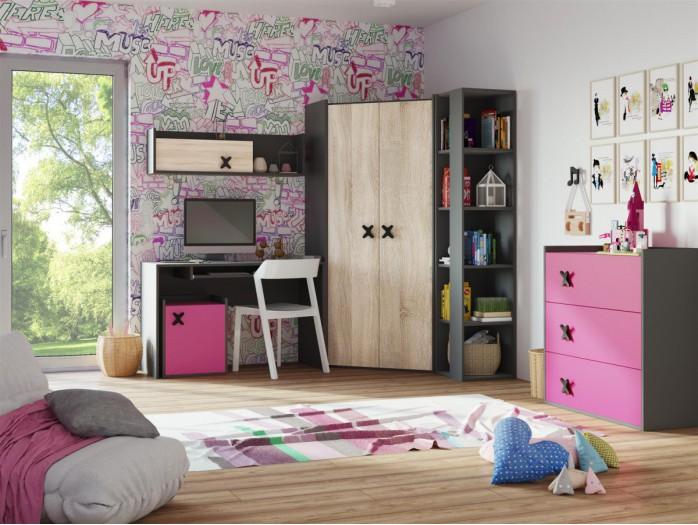 Youth Room ICS 04 (6tlg) Anthracite/ Eiche Cream / pink