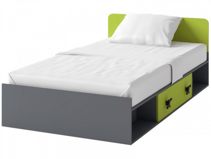 Cot IKS  inc.l Mattress  Anthracite / Green