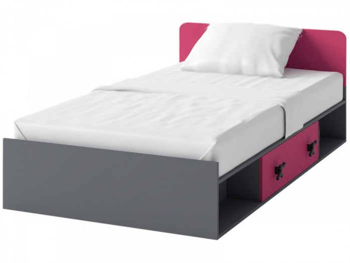 Cot IKS  inc.l Mattress  Anthracite / Pink