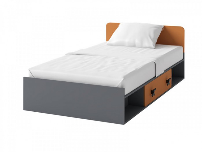 Cot IKS  inc.l Mattress  Anthracite / Orange