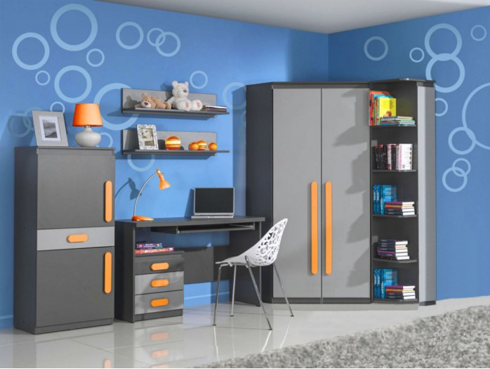 Modern and trendy youth room PLAY 02  (7 pc)  Anthracite / Grey / Orange