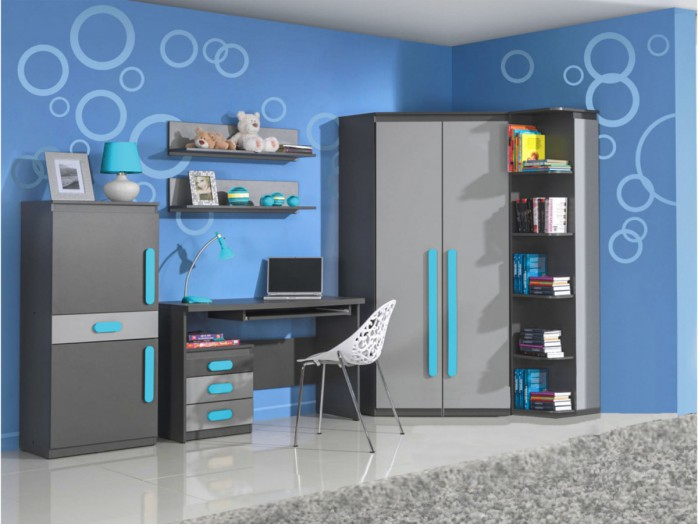 Modern and trendy youth room PLAY 02  (7pc)  Anthracite / Grey / Turquoise