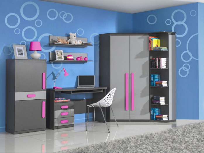 Modern and trendy youth room PLAY 02  (7pc)  Anthracite / Grey / Pink
