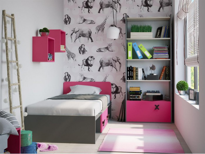 Youth Room ICS 05 (4 pcs) Anthracite/Oak cream / pink