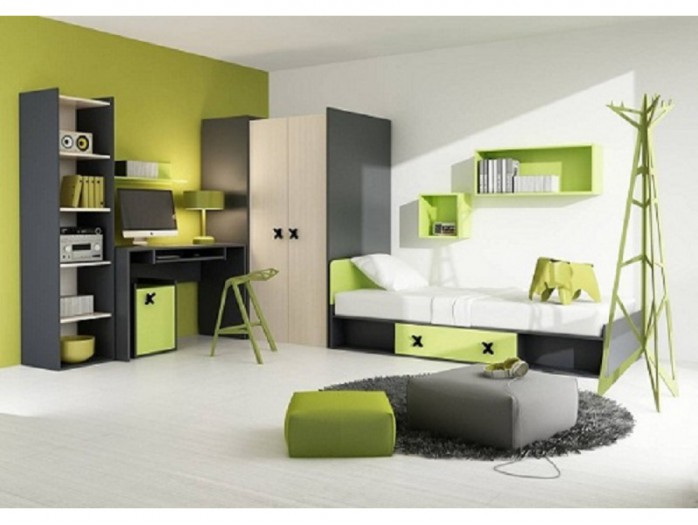 Youth Room IKS.01 (7 pcs) Anthracite/ Oak cream / green