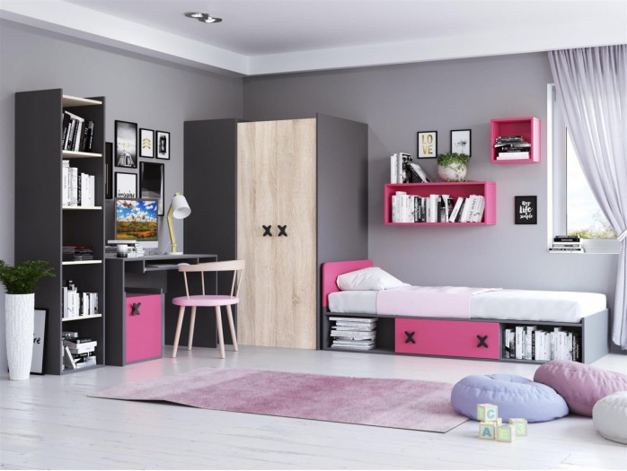 Youth Room IKS.01 (5 pcs) Anthracite/ Oak cream / pink