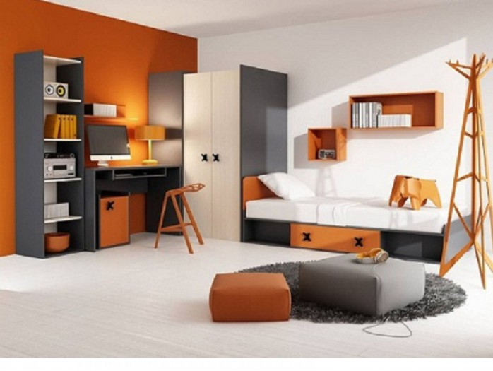 Jugendzimmer Komplett Set IKS 01 (7 tlg.) Rechts Anthrazit/Eiche Creme/Orange