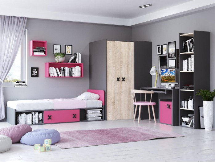Youth Room IKS.01 (7 pcs) Anthracite/ Oak cream / pink