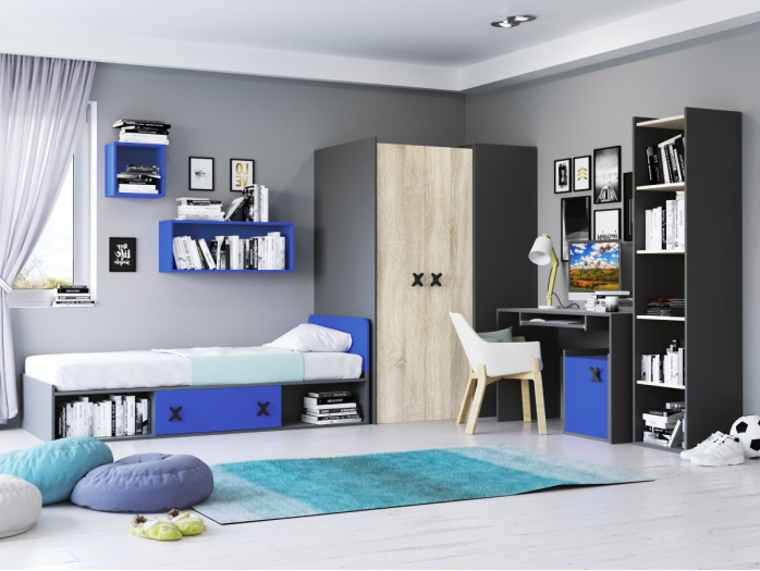 Youth Room IKS.01 (5 pcs) Anthracite/ Oak cream / royal Blue