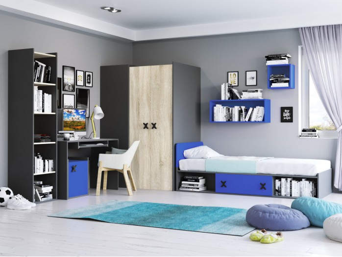 Youth Room IKS.01 (7 pcs) Anthracite/ Oak cream / royal Blue