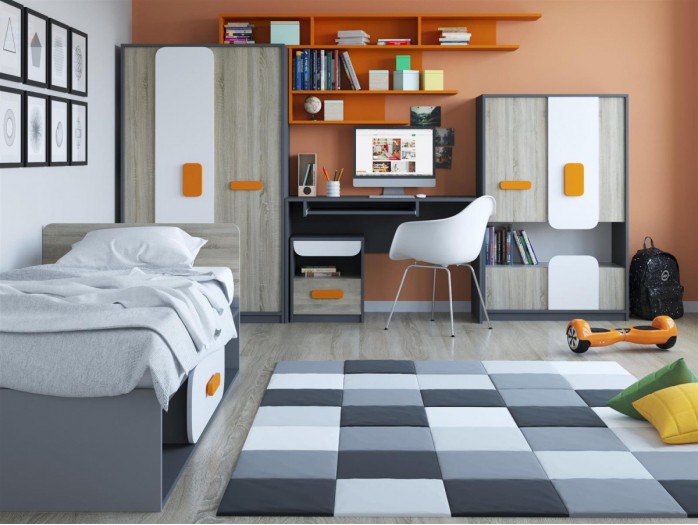 Youth Room JOGO.01 (5 pcs) Grey/ Oak / White/ Orange